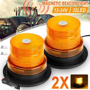 2pz-32-Led-Magnetico-Lampeggiante-12-24V-Ambra-Faro-Luce-Emergenza-Strobo