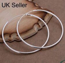 489e1abee 925 Sterling Silver Hoop Earrings Large Hooped Sleeper 50mm 5cm Ladies UK