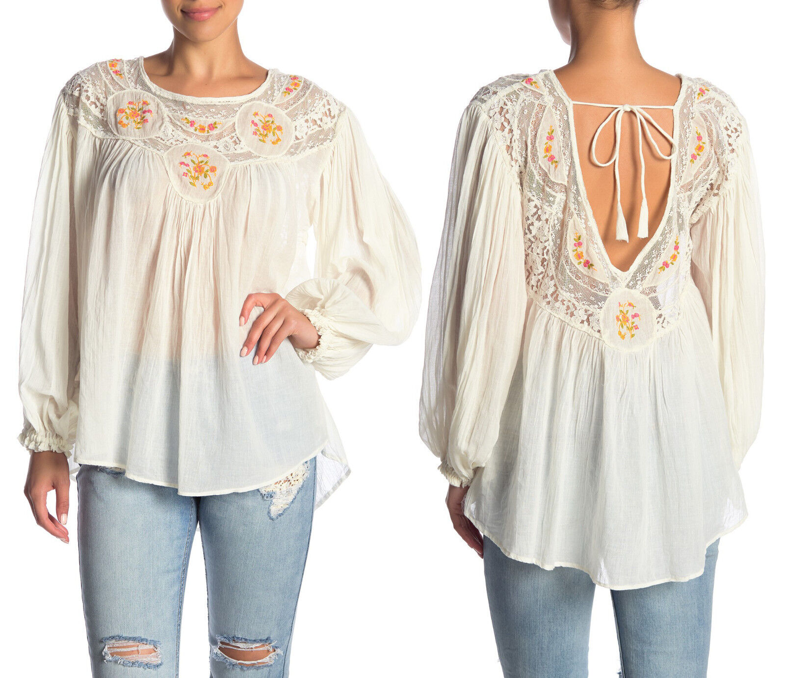 Free People Secret Garden Blouse Top Embroiderot 100% Cotton IVORY Größe XS