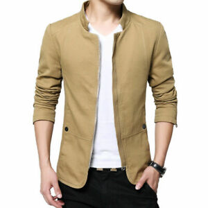 NEW-Men-039-s-Jacket-Slim-Fit-Collar-Cotton-Coat-Fashion-Casual-Outwear-Jacket-Coats