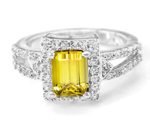 925-Sterling-Silver-Ring-Yellow-Citrine-Natural-Emerald-Cut-Size-4-11