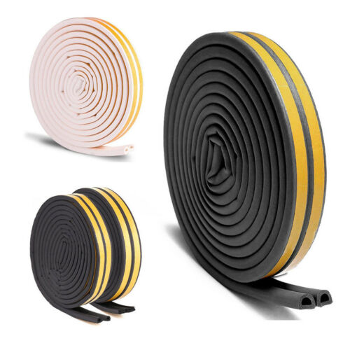 5M E//D//P-type Foam Draught Self Adhesive Window Door Excluder Rubber Seal Strip