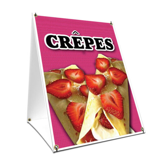 A-frame Sidewalk Sign Crepes With Graphics On Each Side