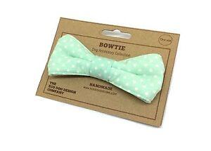 Image Is Loading Dog Bow Tie Mint Green Polka Dot Spotty