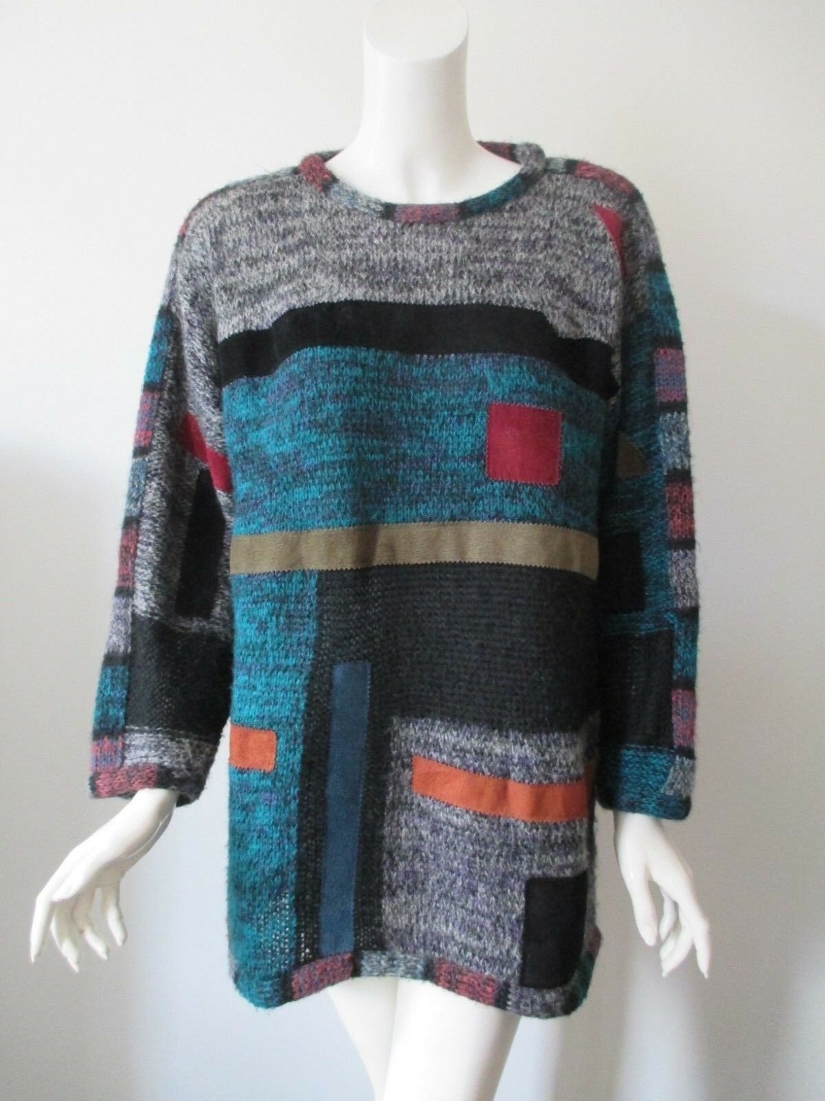Vintage La Squadra Hairy Mohair Wool Knit Leather Patchwork Tunic Sweater M L