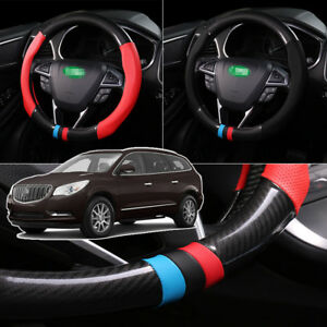 For-Buick-Enclave-Steering-Wheel-Cover-Anti-Slip-Carbon-Fiber-Top-PVC-Leather