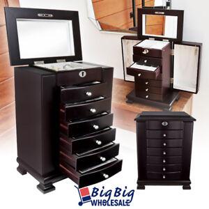Wooden-Jewelry-Treasure-Amoire-Storage-Box-Organizer-Cabinet-Drawer-W-Mirror