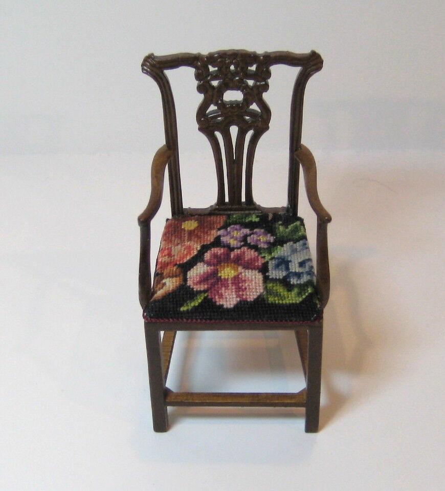 JBM Miniature Dollhouse Arm Chair with floral petit point - needlepoint.