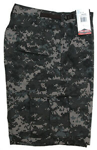 Urban-Digital-Camo-Men-039-s-BDU-Cargo-Shorts-Poly-Cotton-Zipper-TRU-SPEC-5554
