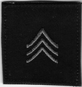 "2"" x 2"" Subdue Grey Black E-5 E5 SGT Sergeant Rank Patch VELCRO BRAND Hook"