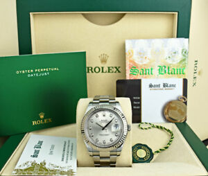 ROLEX-Mens-White-Gold-amp-Stainless-DateJust-II-Silver-Diamond-116334-SANT-BLANC