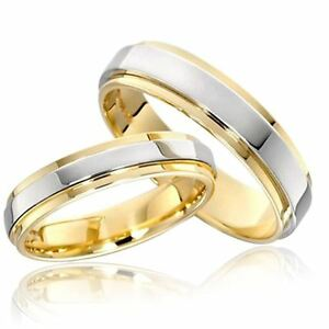 316L-Stainless-Steel-Couple-Rings-Gold-Plating-Engagement-Jewelry-Band-Size-5-13