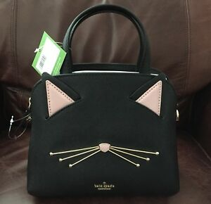 ccd8a5c03b78 Kate Spade Cat's meow Cat Small Lottie Satchel Crossbody Purse Bag ...