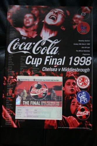 Chelsea v Middlesbrough 1998 League Cup Final Programme + Ticket Stub