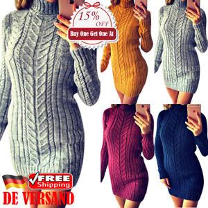 8f35cfb14a2186 Das Bild wird geladen Damen-Mode-Winter-Sweater-Minikleid-Pullikleid-Warm- Strickkleid-