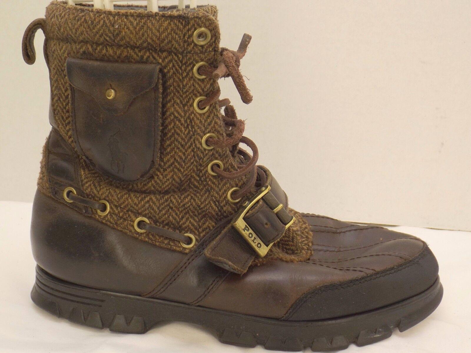 Sz 9 D LAUREN mens Braun Leder&whool RALPH LAUREN D POLO winter hiking duck style Stiefel 058315