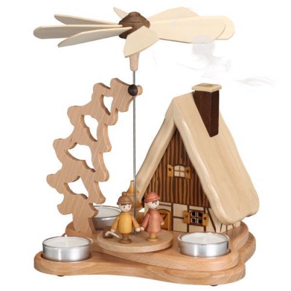 Pyramide mit Räucherhaus für 3 Teelichter, Erzgebirge Zeidler 0670       Starke Hitze- und Hitzebeständigkeit  46b4c8