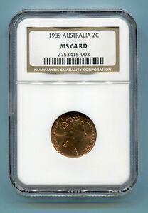 Australia 1989 2 Cent NGC Certified MS 64 RD Coin