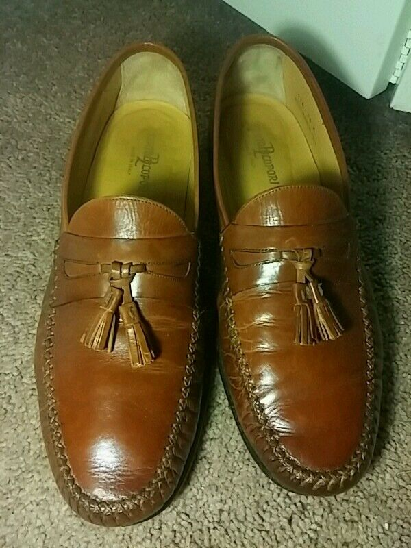 Berto Lupori 10D brown penny tassel loafer 10D Lupori made in Italy Blake stitch heel taps dde85e