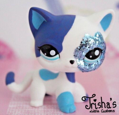 LPS ❤ Littlest Pet Shop ❤ SPLENDIDA Blu Glitter SHORTHAIR CAT OOAK Custom