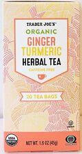 Trader Joe's Organic Ginger Turmeric Herbal Tea Caffeine Free 20 Tea Bags,1 box