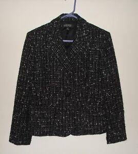 Størrelse Jacket Ladies uld Black 14p Rayon Blazer Kasper Petite Blend Lined YwqUYId
