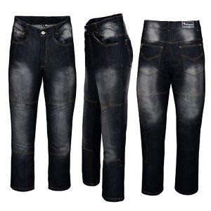 Mens-Motorbike-Motorcycle-jeans-Reinforced-denim-Protective-Lining-Trouser-Black