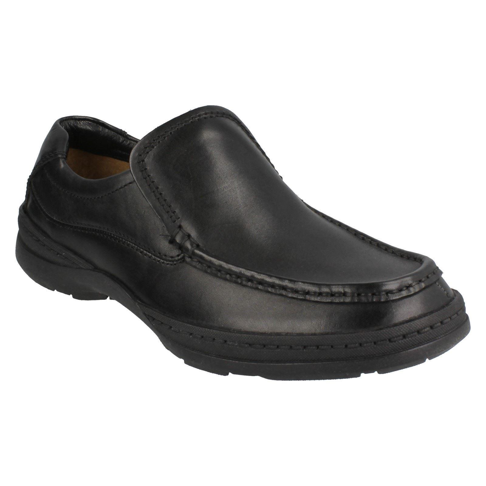 SALE Clarks 'Line Shoes Stride' Mens Black Leather Slip On Shoes 'Line H Fit c2e809