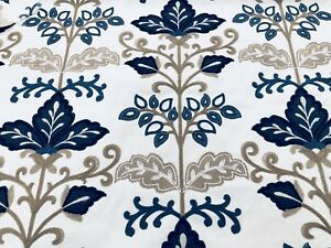 Fabricut Crewel Embroidered Upholstery Fabric Lens Floral Delft