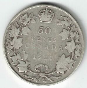 CANADA-1920-WIDE-0-50-CENTS-HALF-DOLLAR-KING-GEORGE-V-SILVER-CANADIAN-COIN