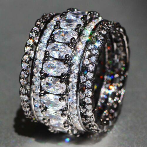 Handmade White Sapphire Pierre de Naissance Argent 925 Rempli Mariage Bridal Loving Ring