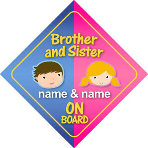 Brother and Sister On Board Personalized Child Car Sign/Baby Shower Boy/Girl