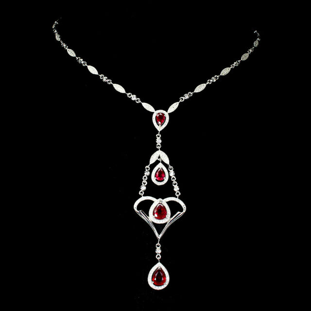 Pear Red Ruby 9x7mm Cz 14K White Gold Plate 925 Sterling Silver Necklace 16.5ins