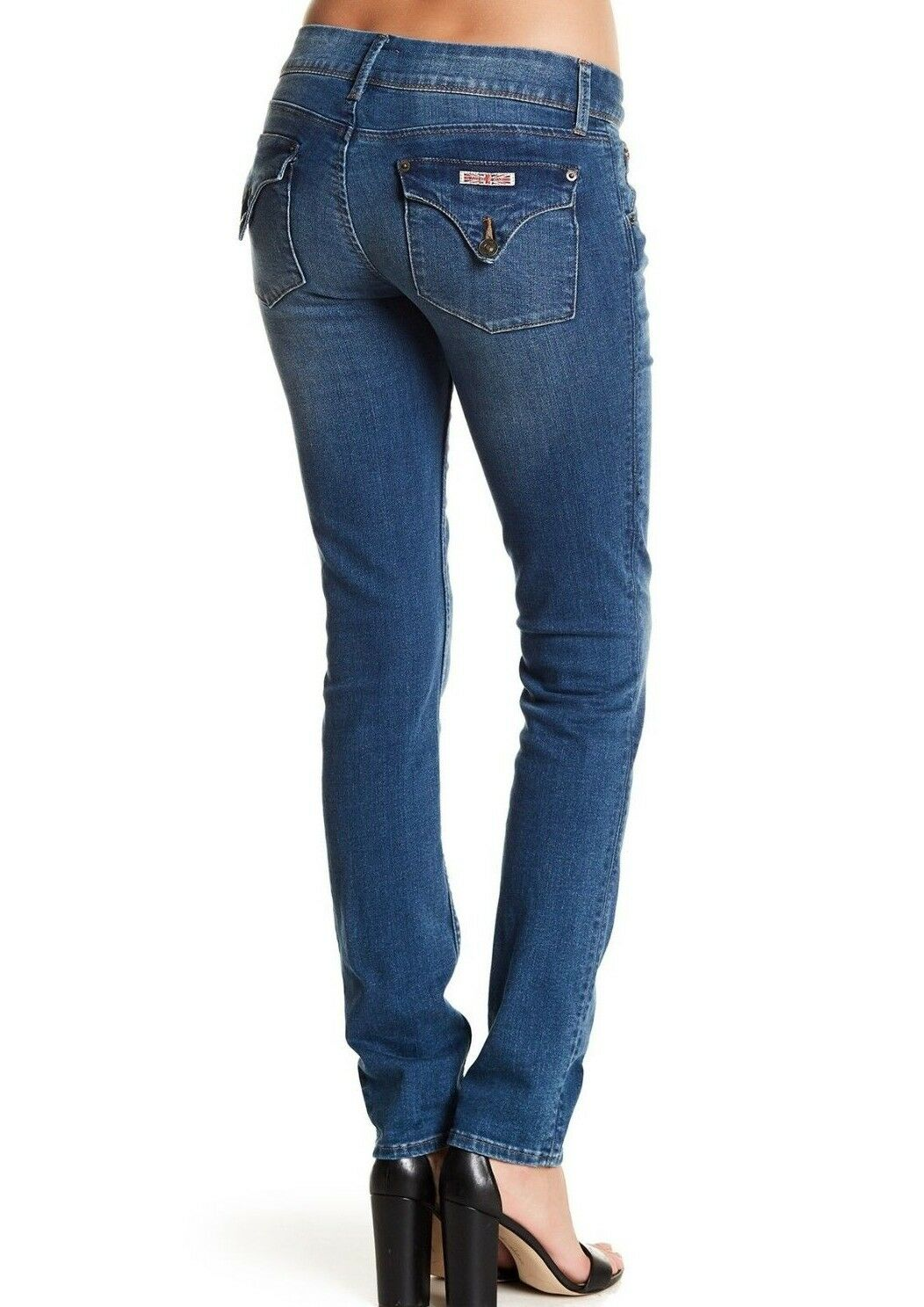 189 NWT HUDSON Sz27 COLLIN ANKLE MIDRISE SKINNY STRETCH JEANS RIVETING blueE