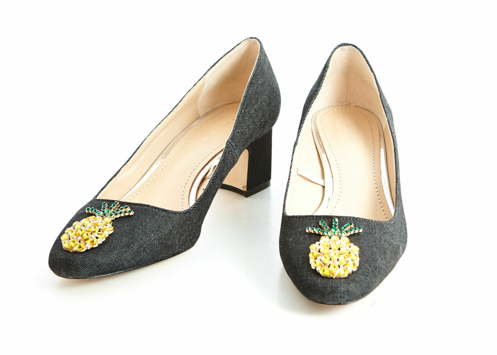 Zara Mid Heel Denim Schuhes Uk4/37 With Pineapple Detail Größe Uk4/37 Schuhes BNWT 9165d9