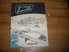 REVUE TECHNIQUE RTA SALON DE L'AUTOMOBILE 1958