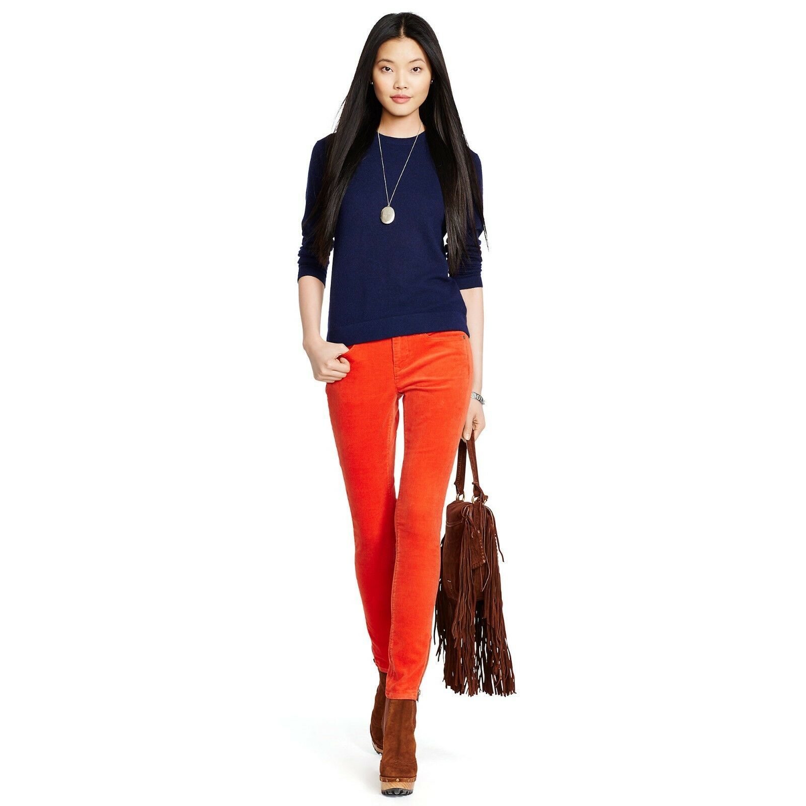 New Ralph Lauren orange Corduroy Pants Size 28  145