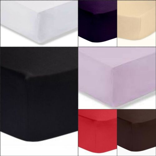 Mattress Cover Rich Cotton /& Polyester Plain Dyed Fitted Sheets//Pair Pillowcases