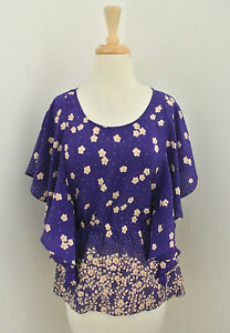PAUL-amp-JOE-SISTER-Floral-print-silk-top-sz-1-S-flutter-sleeve