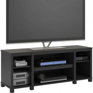 Entertainment-Cubby-TV-Stand-up-to-50-inch-TV-Black-Oak-Wood-Finish-Furniture
