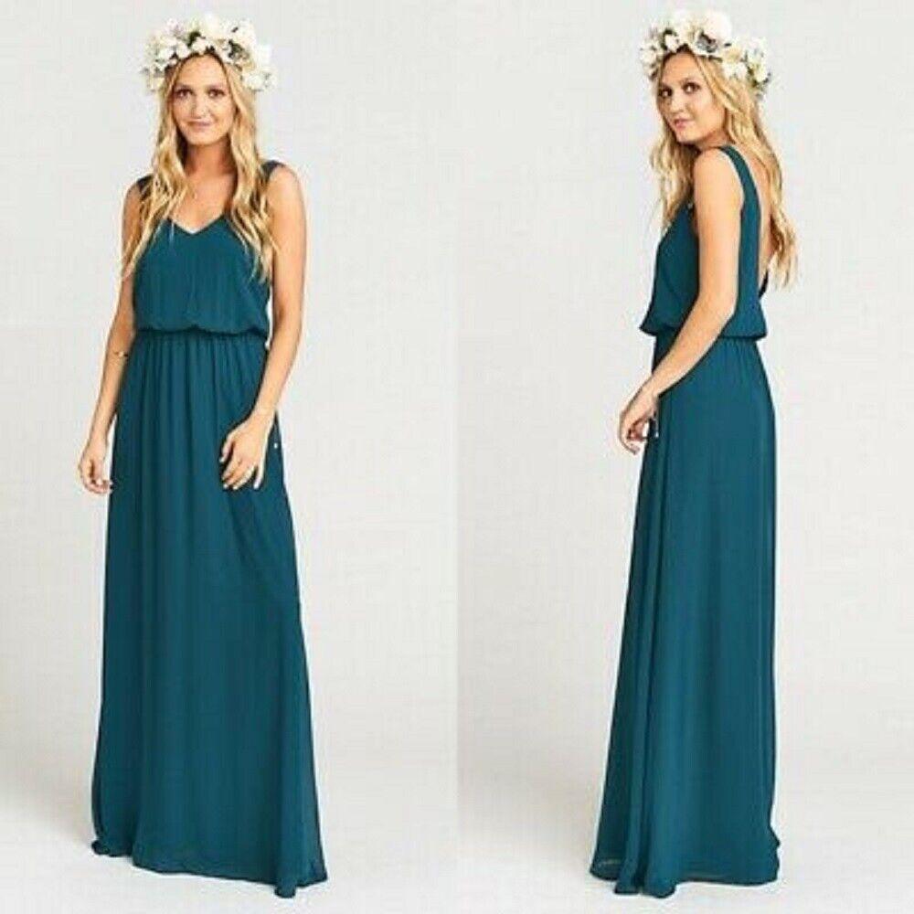 SHOW ME YOUR MUMU Jenn Chiffon A-Line Gown women XL XLARGE DEEP JADE NEW *6-15