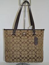 Coach Signature Zip Top Tote/Handbag/Purse Khaki/Mahogany  F36375 New With Tag