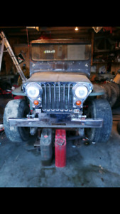 1952 jeep willys flatfender, m38a1, cj2a, CJ, v8