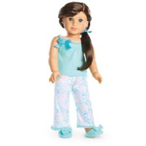 american girl grace thomas pajamas pjs top pants slippers hairtie no