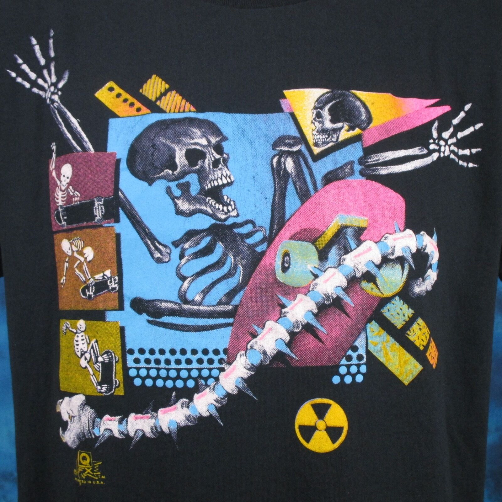 Vintage 80s SKATE SKELETON PAPER THIN T Shirt LARGE Cartoon Punk Surf Skateboard