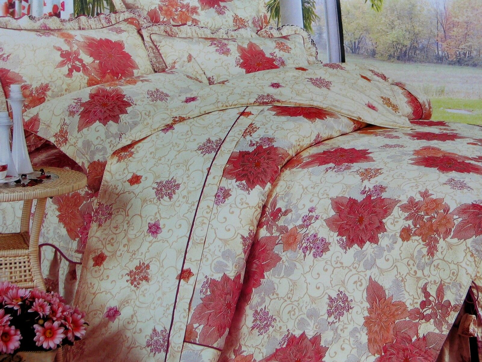 Cotton Red&Peach Floral Comforter Cover  Duvet Cover Sheet Set Full Size Cream