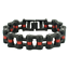 Details about  /Stainless Steel Black with Red Stripe Bike Chain Bracelet