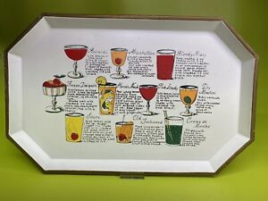 Vintage Antique Nashco tray Cocktail Recipe 40's 50's, Mod Mcm Hand Painted Rare
