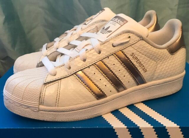 ADIDAS Superstar Trainers White Rose Gold Copper UK Size 5 Scale