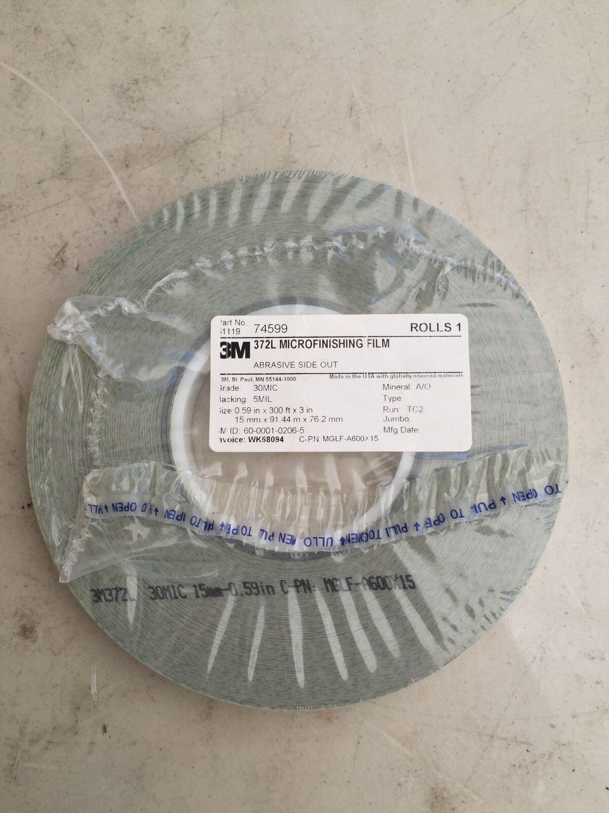 """2.75/"""" x 150/' x 5//8/"""" 40 MIC 3M 373L Microfinishing Film 5 Mil Roll NEW ASO"""